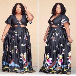 Dresses & Skirts - Plus Size Floral Skirt Crop Top 2 Piece Set Sz16